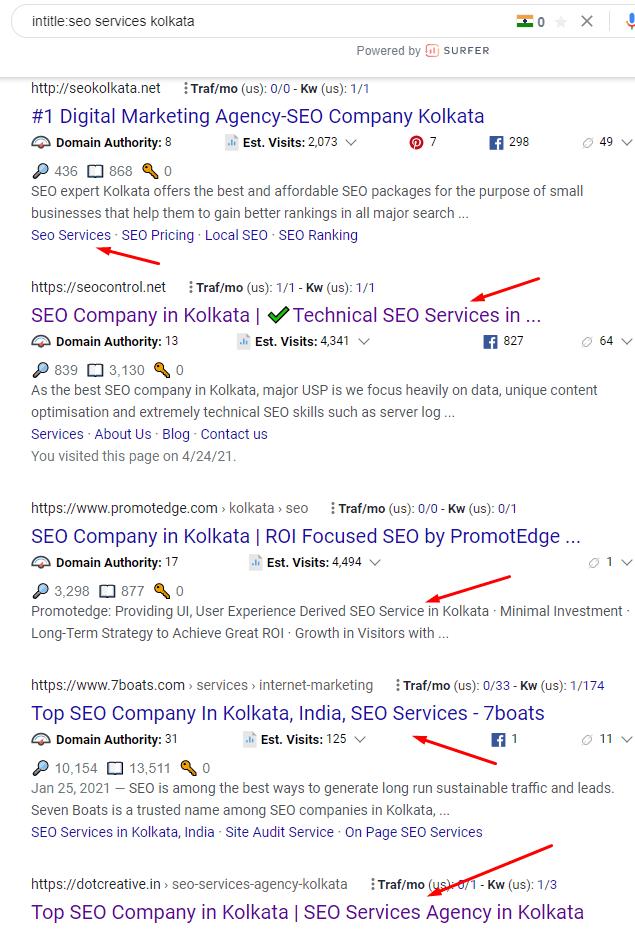 Keyword research using Google search operators