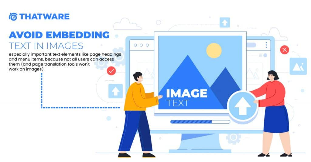 Avoid Embedding Text in Images